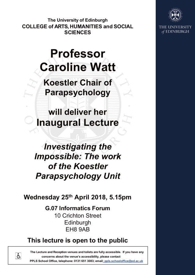 Prof Caroline Watt Inaugural Lecture